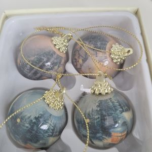 Thomas Kinkade 4 decoupage ball ornaments